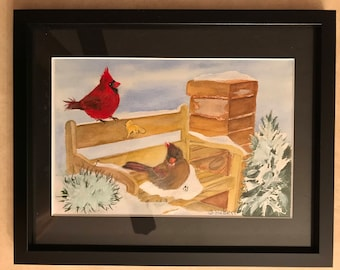 Framed and Matted a 9 x 11 Original Watercolor of two Cardinals Resting on a Snowy Bench Cardinal/'s Winter Resting Place
