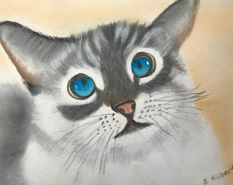 Curious Blue Eyed Kitten, is an original 9 x 12 mixed media painting of sweet gray and white kitten, with huge blue eyes, Unframed