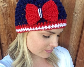 New England Patriots Football Beanie, Crochet football hat, Football team colors, Womens football hat, Bow hat, Bow beanie (choose team)