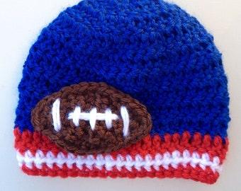 Baby Boy Football Hat, Football Hat, Baby Crochet Hat, Baby Boy Hat, Newborn Crochet Hat, Infant Hat, Newborn Photo Prop (Choose Team)