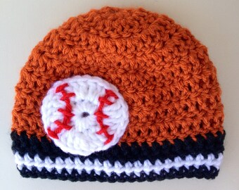 Baby Baseball Hats - orange & black Baltimore Orioles Baby Beanie (Baby Gifts Beanie Newborn Hat Baby Newborn Hats Baby Beanies) choose team