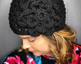 Women's Black Beanie with Flower, Crochet Beanie with Flower, Women's Beanie Hat, Crochet Hat