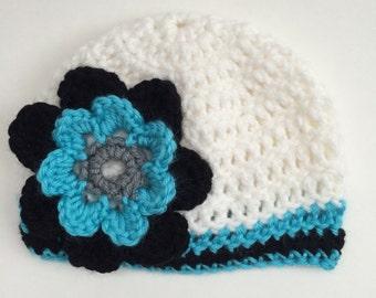 Carolina Panthers Football Hat, Baby Hat, Girl Hat, Baby Girl Beanie, Newborn Crochet Hat, Baby Football Hat, Baby Shower Gift (Choose Team)