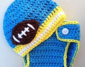 Baby Hat & Baby Diaper Cover -- Newborn Football Diaper Cover and Beanie Photo Prop. white, gold, powder blue