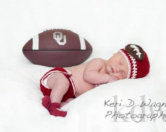 Baby Diaper Cover and Football Baby Hat - crimson, white (baby gift newborn hat newborn diaper cover)