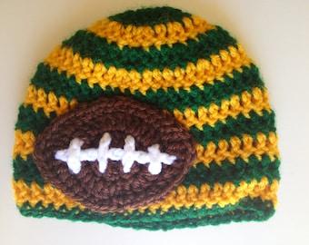 Green Bay Packers Football Hat, Boy Hat, Newborn Crochet Hat, Football Hat, Packers Hat, Photo Prop (Choose Team)