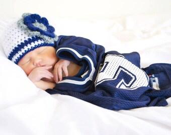 Dallas Cowboys Football Hat, Girl Hat, Newborn Crochet Hat, Football Hat, Cowboys Hat, Photo Prop (Choose Team)