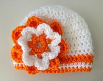 Tennessee Volunteers Hat, Baby Hat, Girl Hat, Baby Girl Beanie, Newborn Crochet Hat, Baby Football Hat, Baby Shower Gift (Choose Team)