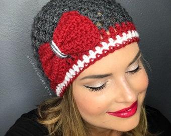 Washington State Cougars Football Beanie, Women's Crochet football hat, Women's football hat, crochet beanie with bow (choose team)