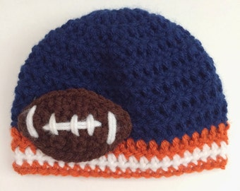 Syracuse Football Hat, Chicago Bears Hat, Boy Hat, Newborn Crochet Hat, Football Hat, Bears Hat, Photo Prop (Choose Team)