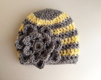 Baby Crochet Hat, Baby Girl Hat, Newborn Crochet Hat, Baby Crochet Hat, Infant Hat, Newborn Photo Prop, Gray Hat, Baby Girl Flower Hat