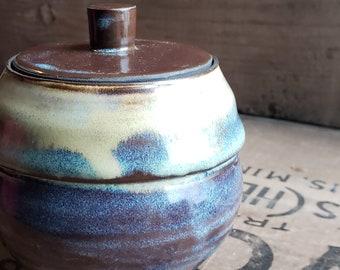 Ombre Glaze Lidded Stoneware Bowl // Wheel Thrown