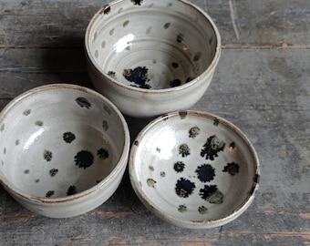 Dalmation Dot // Wheel Thrown Ceramic Offering Dish Set