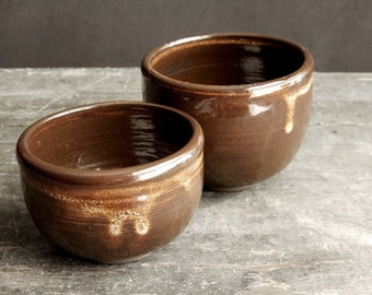 Hand Thrown Stoneware Offering Bowl Set // Glossy Chocolate Brown
