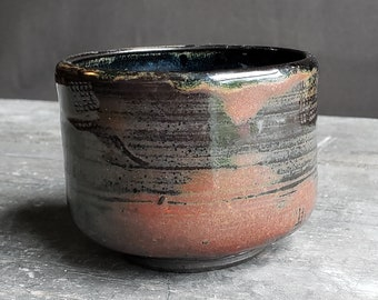 Handmade Ceramic Offering Cup // Gloss Black and Brown