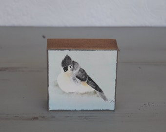 Bird digital painting art block 3 x 3 print