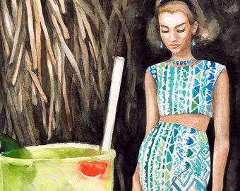 Original Gouache Painting • Tropical Drink Vintage Woman • 11x14 print, 16x20 ready to frame