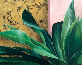 Original Acrylic Painting • Aloe on Pink and Gold • 11x14 print, 16x20 ready to frame