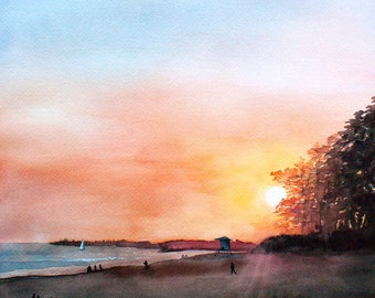 Sant Cruz Sunset Watercolor Painting • 11x14 print, 16x20 ready to frame