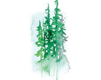 Watercolor Trees - 8x10 print, 11x14 ready to frame