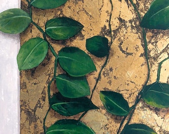Original Acrylic Painting • Philodendron on Gold • 11x14 print, 16x20 ready to frame