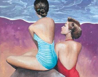 Original Gouache Painting • Vintage Ladies at the Beach • 11x14 print, 16x20 ready to frame