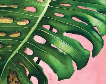 Original Acrylic Painting • Monstera on Pink • 11x14 print, 16x20 ready to frame