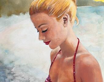 Original Gouache Painting • Vintage Bikini Girl • 11x14 print, 16x20 ready to frame