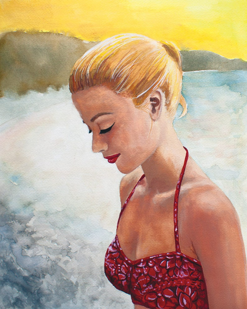2db36218b6 Original Gouache Painting Vintage Bikini Girl 8x10 print | Etsy