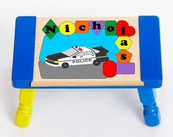 Custom Police Car Stool Kids STEP Stool with Police Cars Policeman  Personalized Police Officer Stool Boys espresso Child/'s Seat STOO-esp215