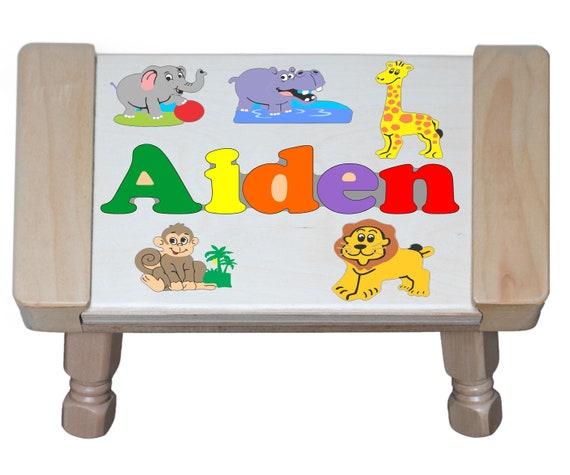 Custom Name Puzzle Jungle Zoo Animals Theme Giraffe Elephant Hippo Monkey Lion Primary Stool Educational For Preschool Toddler Kids
