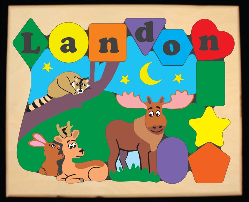 Wildlife Theme Moose Deer Rabbit Raccoon An educational toy for children to learn their name. Personalized Name Puzzle Forest Animals