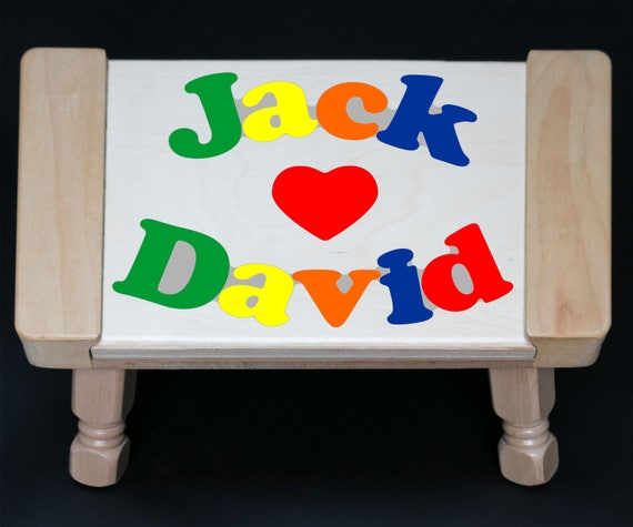 Incredible Custom 2 Name Puzzle Stool In Primary Colors With A Heart An Educational Toy Puzzle For Preschool Toddler Children To Learn Their 2 Names Ocoug Best Dining Table And Chair Ideas Images Ocougorg