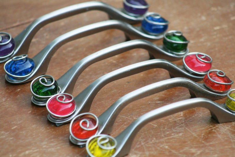 Colorful Glass Cabinet Knobs And Pulls Kitchen Cabinet Etsy