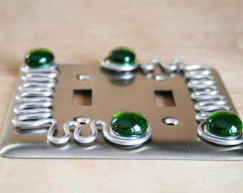 Double Switch Plate/Brushed Nickel/Green Fused Glass/Light Switch Cover/Funktini Home/Lighting Switch Plate Cover/Lighting Accessories