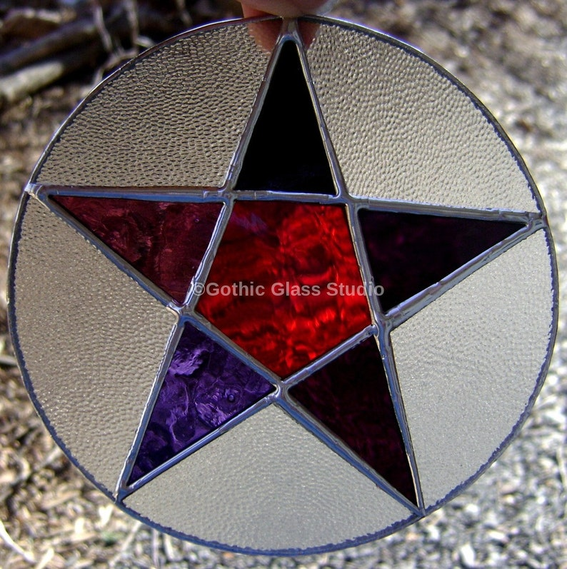 503c08514b29 Pentagram Stained Glass Pentacle Purple Suncatchers Witch Pagan Wicca  Halloween Yule Gifts Birthday Valentines Home Decor Original Design©