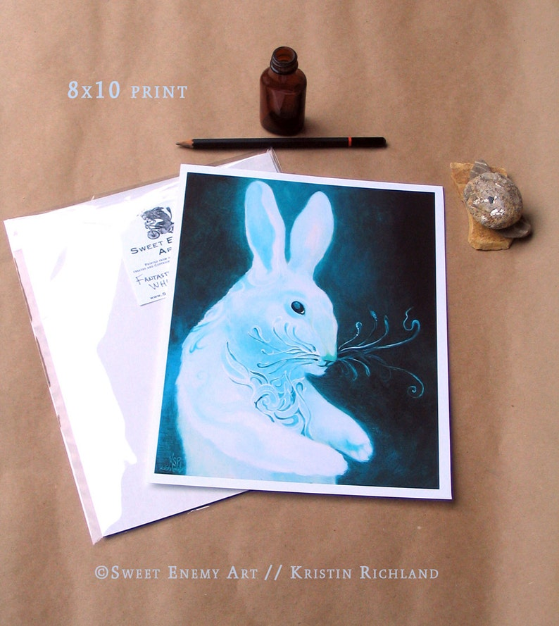 Rabbit with Fantastic Whiskers // 8x10 Art Print // Dream illustration