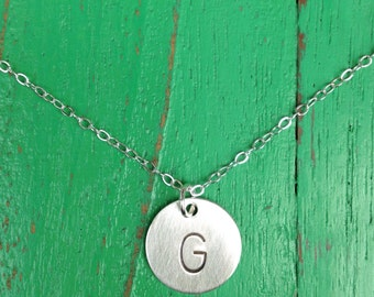 Single Half Inch Initial Necklace