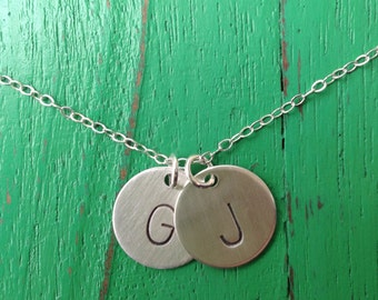 Double Half Inch Initials Necklace
