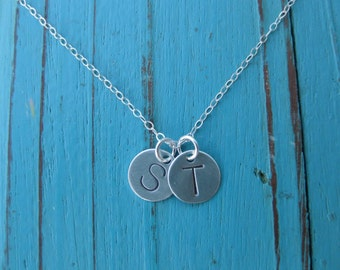 Sterling Silver Double Hand Stamped Charm Necklace On Link Chain