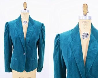 "ANNIVERSARY SALE // 1980s velvet blazer | turquoise velvet suit jacket | vintage 80s blazer | W 38"""