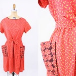 1940s dress vintage 40s red yellow floral embroidered pockets wrap dress