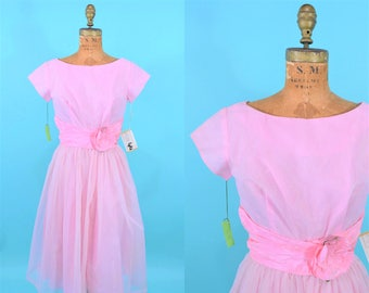 """Vintage 1950s Prom Gown   Pink Dotted Swiss Full Skirt DEADSTOCK Formal Dress   W 25"""""""