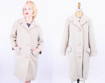 Vintage 1970s Tweed Coat   Beige Speckled Coat
