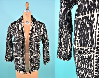 ANNIVERSARY SALE // 1960s filigree cardigan | black white embroidered open top | vintage 60s cardigan