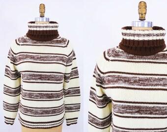 "ANNIVERSARY SALE // 1960s turtleneck sweater | cream brown striped acrylic sweater | vintage 60s sweater | W 35"""