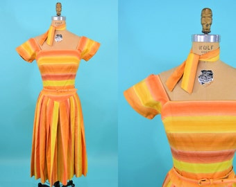 "ANNIVERSARY SALE // 1950s striped dress | orange yellow stripe long waisted full dress with scarf | vintage 50s dress | W 26"""