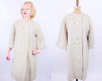 Vintage 1960s Tweed Coat   Yellow Tan Large Button Collarless Coat