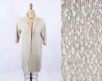 Vintage 80s Sweater Coat   Beige Speckled Open Knit 1980s Fall Jacket