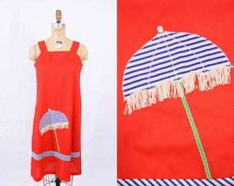 "ANNIVERSARY SALE // 1970s novelty dress | red fringe beach umbrella novelty cover up dress | vintage 70s dress | W 40"""